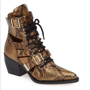 CHLOE Rylee Python Caged Harvest Gold Boots